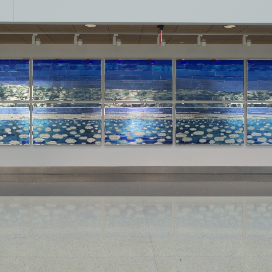 <p><em>Ethereal Sky</em>, Hobby Airport, Houston. Glass Mosaic, 7'x 36' 2015</p>