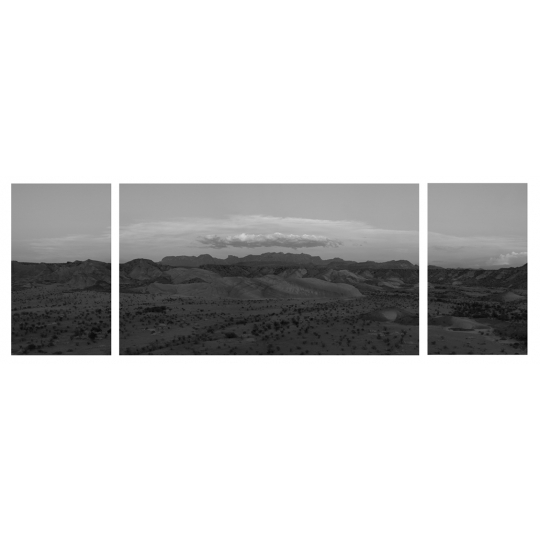 "<p><em>Chisos Mountains</em>. Triprych. &nbsp;Archival Inkjet facemounted to Plexiglass.</p><p>48"" x 120"". &nbsp;</p>"