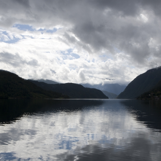 "<p><em>Ulvik, Hardanger, Norway.</em> 3fj5505 Chromogenic Transparency, LED Light Panel. 48"" x 84"" 2007</p>"