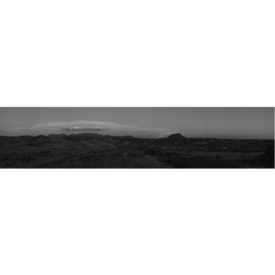 <p><em>Big Bend Panorama</em> , Archival INket Print, Prepared Image. 4' x 35' 2009</p>